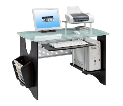 Picture of Comfortable Mad Tech 30x24x46 Espresso Mdf Frame & Glass Top Computer Office Desk Table (B004W0MHDC) (Computer Desks)
