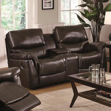 Image of Reclining Loveseat with Built-in Console Table in Brown Leather (VF_602932)