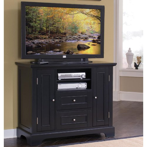 Image of Home Styles 5531-100 Bedford Compact Credenza TV Stand, Black (5531-100)