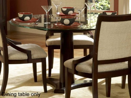 Image of Round Dining Table with Glass Top in Dark Cherry Finish (VF_HE1377-54)