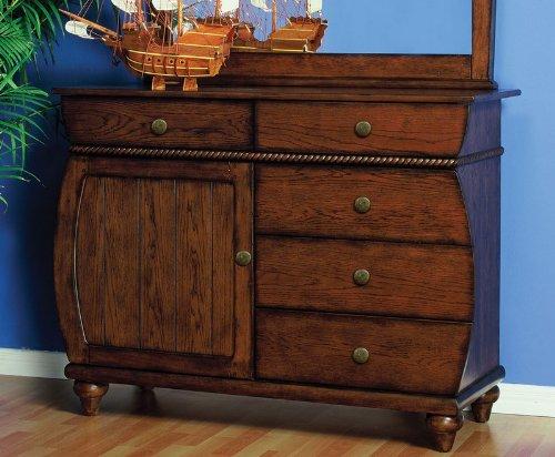 Image of Kids 5 Drawer Dresser with Rope Design Trim in Antique Honey Brown Oak Finish (AZ00-46897x19254)