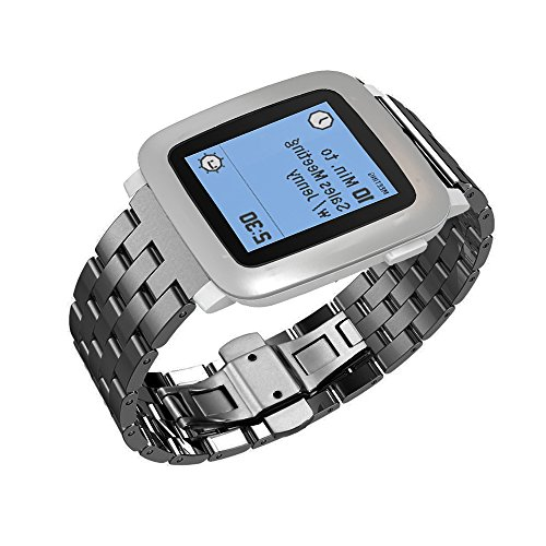 Pebble-Time-Watch-Band-Monoy-Deluxe-Stainless-Steel-Metal-Bracelet-Watchband-Strap-Watch-Band-for-Pebble-Time-Black-Stainless-Steel-Band