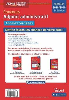 Livres Couvertures de Concours Adjoint administratif - Catégorie C - Annales corrigées État et territorial - Concours 2017-2018