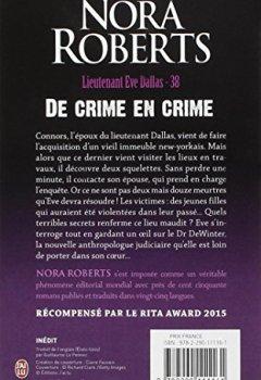 Livres Couvertures de Lieutenant Eve Dallas, Tome 38 : De crime en crime