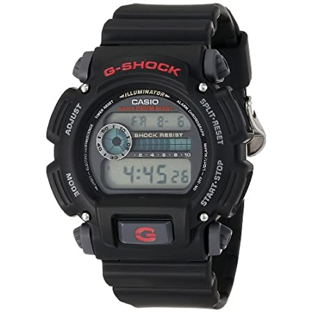 The simply designed Casio G-Shock Classic digital watch for men offers shock resistance that's great for your most vigorous sporting activities. The durable rectangular black watch case measures 45mm wide (1.77 inches), and it's matched to a comforta...