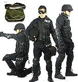 ブラック 迷彩服  SWAT仕様 特殊火器戦術部隊 ブラック戦闘服 上下セット パンツ&ジャケット+ SWAT肩掛けグリーン 迷彩 サバイバルゲーム用 ショルダー便利バッグ 3点セット商品 (身長:185cm/100  胸囲110~127cm)