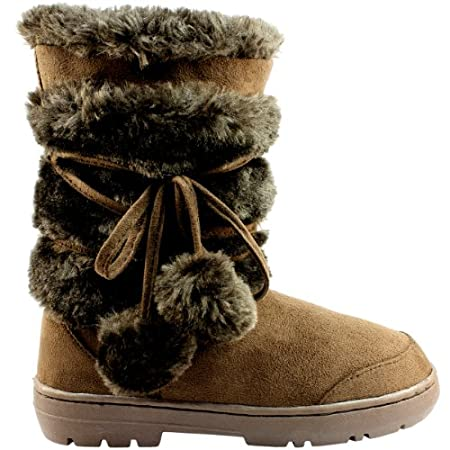 Short fur boot with lace up pom-pom design. Thick fur lined throughout the boot which is also featured along the top. The outsole is light, flexible and durable with a deep tread ideal for cold winter days. This boot will provide ultimate comfort and...