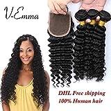 V-Emma brazilian virgin hair deep wave with closure, brazilian deep curly hair weave with closure brazilian 3 bundles with 3 part closure 22x24x26+20