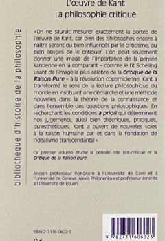 Livres Couvertures de L'Oeuvre de Kant : la philosophie critique, tome 1