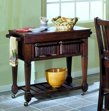 Image of Home Elegance 759-07 Market Collection Kitchen Utility Cart Espresso Finish (VF_HE759-07)