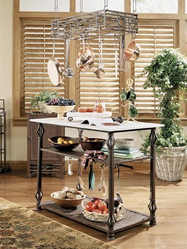 Image of Bago Luma Messina Kitchen Island and Pot Rack WKI737 / XR48 / WKR033 (WKI737 / XR48 / WKR033)