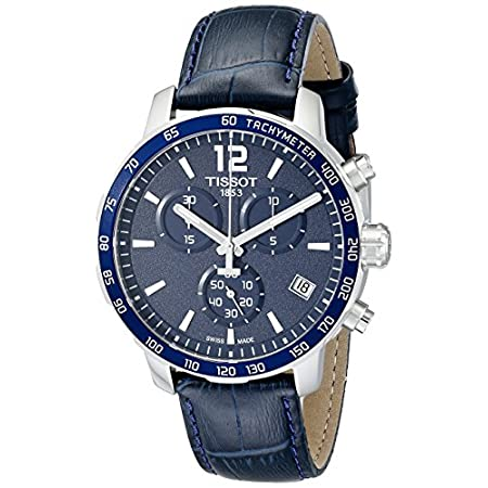 Tissot Men's Quickster Stainless steel case, Leather, Navy blue dial, Quartz movement, Scratch-resistant sapphire, Water resistant up to 10 ATM - 100 Meters - 330 Feet