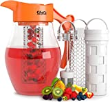 Chef's Inspirations 3 in 1 Fruit & Tea Infusion Water Pitcher. 3 Quart (2.8 Liters). Best For Flavored Infused Tea, Fruit or Herbs. Includes 3 Inserts for Fruit, Tea & Ice. Bonus Infuser Recipe eBook.