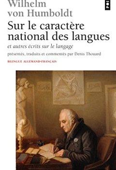 Livres Couvertures de Sur le caractere national des langues ecrit sur le langage