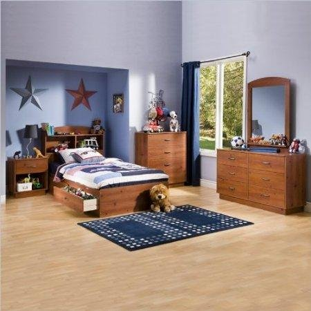 Image of South Shore Logik Kids Pine Wood Captain's Storage Bed 5 Piece Bedroom Set (3342-PKG)