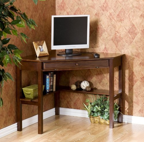 Picture of Comfortable Corner Computer Desk with Slide Out Keyboard Tray in Espresso Finish (B0034GCR9E) (Computer Desks)