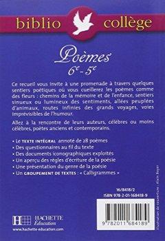 Livres Couvertures de Biblio collège : Poèmes 6e 5e