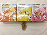 Smooze All Natural Fruit Ice, One of Each: Coconut + Mango, Coconut + Pink Guava, and Coconut + Pineapple, Total 3 Boxes; Come with Teddy Bear Miniature