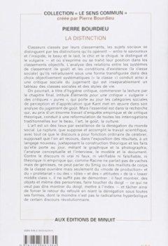 Livres Couvertures de La Distinction : Critique sociale du jugement
