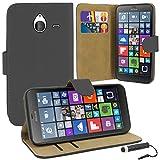 Microsoft Lumia 640 XL - custodia Cover Custodia a libro in pelle + Pellicola protettiva con Panno in microfibra + penna Stilo Touch Screen, Pelle, nero, taglia unica