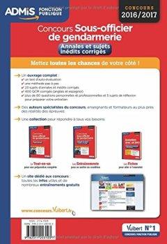 Livres Couvertures de Concours Sous-officier de gendarmerie - Catégorie B - Annales et sujets inédits corrigés - Concours 2016-2017