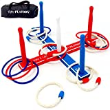 Play Platoon Ring Toss Game Set - Includes 8 Rope & 8 Plastic Rings - Great Party Game or Gift for Adults and Kids