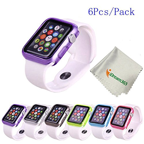 Apple-Watch-CaseiDream365TM-Apple-Watch-42mm-Case-6-Color-Combination-Pack-Clear-Soft-Protective-TPU-Case-for-Apple-Watch-42mm-2015-OnlyMicrofiber-Cloth