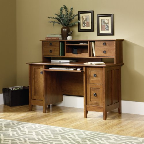 Picture of Comfortable Computer Desk with Hutch - Oiled Oak Finish (B004G55V9K) (Computer Desks)