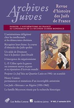 Livres Couvertures de Archives Juives n° 49/2: L'antisémitisme en France au lendemain de la Seconde Guerre Mondiale