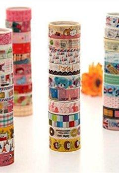 Livres Couvertures de Lau&Home 5M Lot de 10 rouleaux de ruban adhésifs à motifs Idéal pour scrapbooking/ activités manuelles