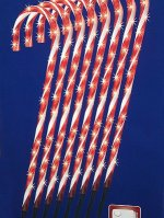Set of 8 Lighted Candy Cane Christmas Lawn Stakes