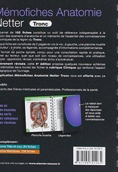 Livres Couvertures de Mémofiches Anatomie Netter - Tronc