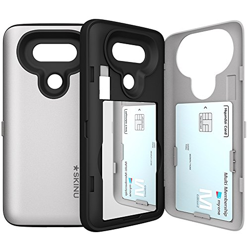 LG-G5-Case-G5-Card-Case-SKINU-USB-type-C-Dual-Layer-Card-Slot-Drop-Protection-Wallet-with-Mirror-and-Adapter-For-LG-G5-Silver