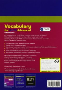 Livres Couvertures de Cambridge Vocabulary for IELTS Advanced Band 6.5+ with Answers and Audio CD.
