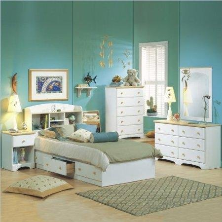 Image of South Shore Newbury Kids White Twin Wood Captain's Bed 4 Piece Bedroom Set (3263080-4PKG)