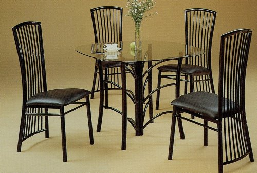 Image of 5pc Modern Black Metal Glass Top Dining Room Table Chairs Set (VF_dinset-2846-2918)