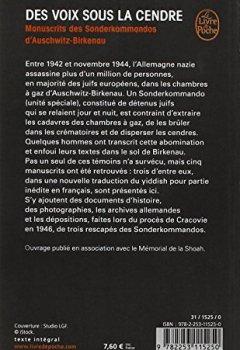 Livres Couvertures de Des voix sous la cendre : Manuscrits des Sonderkommandos d'Auschwitz-Birkenau
