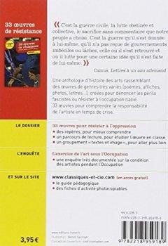 Livres Couvertures de 33 oeuvres de résistance: anthologie d'histoire des arts