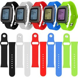 EEEKit-5-Items-Replacement-Band-Bundle-Solution-Kit-for-Pebble-Time-Smart-Watch5-Colors-Soft-Silicone-Wrist-Replacement-Strap-Band-and-EEEKit-Pouch