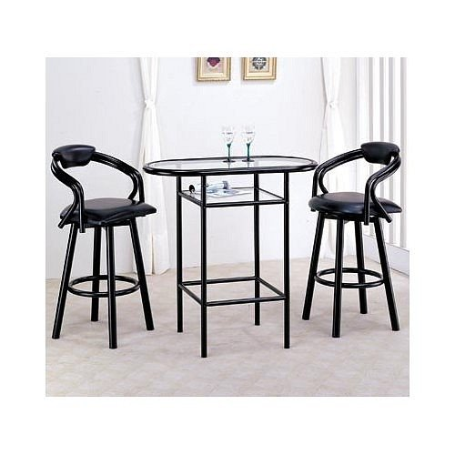 Image of NEW GLASS TOP BAR TABLE W. 2 SWIVEL BARSTOOLS (VF_AZ00-13948x19170)