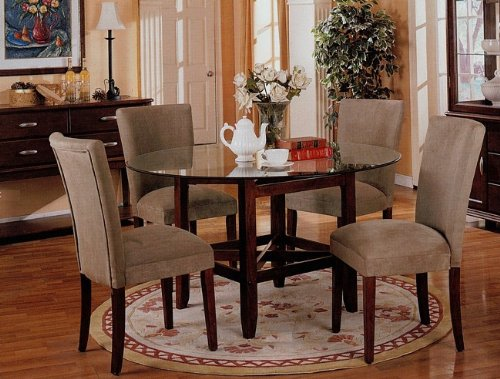 Image of 5pc Round Dining Table w/Glass Top & Taupe Parson Chairs Set (VF_dinset-3655-3652)