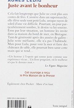 Livres Couvertures de Juste avant le bonheur - Prix 2013 Maison de la Presse
