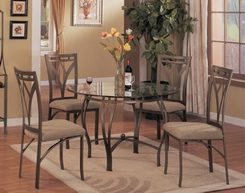 Image of Round Glass Top Table With Chairs (VF_AZ03-11412)
