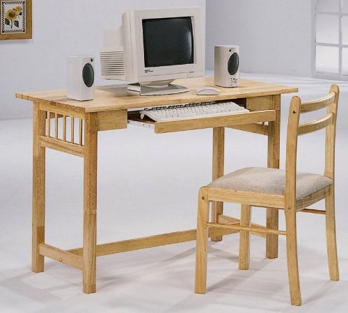 Picture of Comfortable Lakin Maple Computer Desk with Chair (2 Piece) Set (B003XNK55G) (Computer Desks)