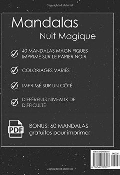 Livres Couvertures de Livre De Coloriage Pour Adultes: Mandalas Nuit Magique Anti Stress + BONUS 60 Mandalas gratuites (PDF pour imprimer)