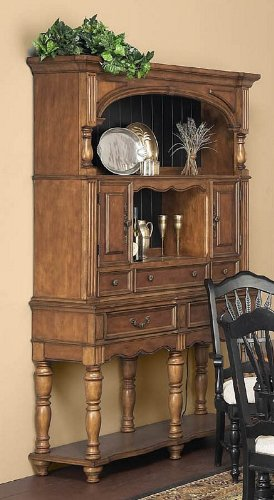 Image of Hutch and Sideboard with Turned Legs Design in Caramel Finish (VF_AP-149-23-24)