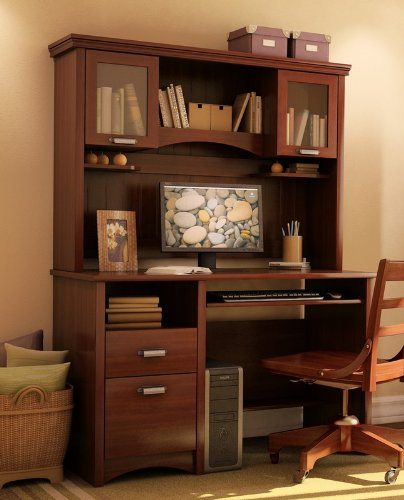 Picture of Comfortable Home Office Computer Desk with Hutch in Sumptuous Cherry Finish (B003LCEMWQ) (Computer Desks)