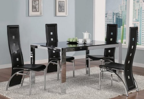 Image of 5pc Dining Table & Chairs Set Glass Top Metal Silver Finish (VF_Dinset-120280-120282)