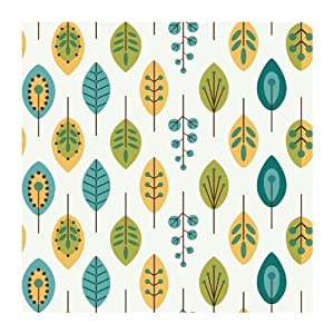 York Wallcoverings KB8528 Bistro 750 Retro Leaves Prepasted Wallpaper, White / Teal Blue ...