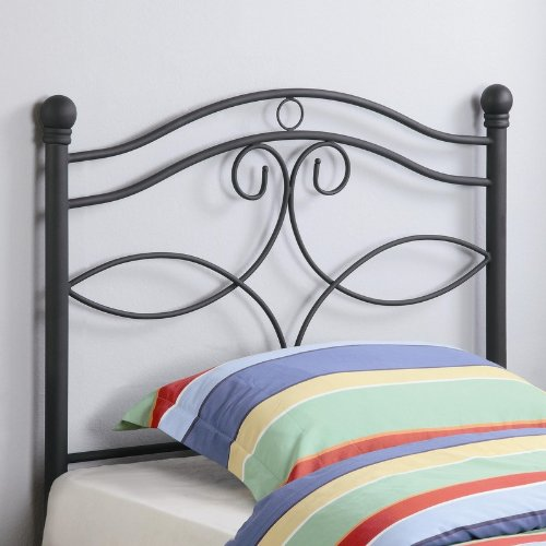 Image of Twin Size Kid Headboard with Swirling Accents in Matte Dark Finished Metal (VF_450102T)